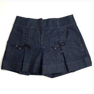 Leifsdottir lace up high rise denim shorts